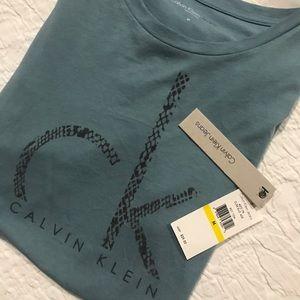 Calvin Klein Jeans NWT SS T-Shirt, Flocked CK Logo